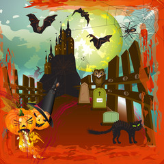 Scary halloween castle background with moon, fire and blood