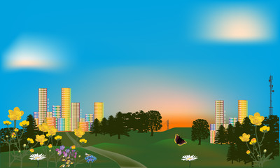 Keuken foto achterwand Vlinders green park near rainbow color city