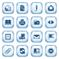 E-mail web icons on glossy buttons.