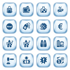Commerce web icons on glossy buttons.