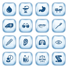Medicine web icons  on glossy buttons.