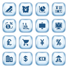 Finance web icons on glossy buttons.