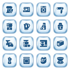 Home appliances web icons on glossy buttons. Set 2.