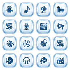 Audio video web icons on glossy buttons.