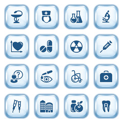 Medicine web icons on glossy buttons. Set 2.