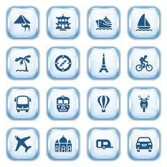Travel web icons on glossy buttons.