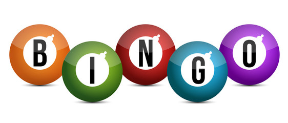 brightly coloured bingo balls illustration design