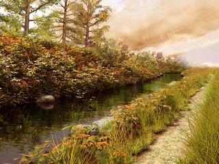 Wall Mural - Rzeka i ścieżka w jesiennych kolorach
