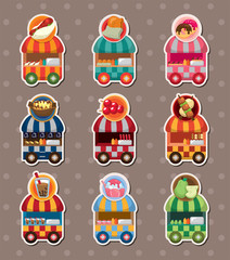 Tuinposter Robots set of party shop market cart stickers