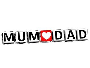 3D Mum Love Dad Button Click Here Block Text