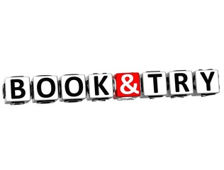 3D Book And Try Button Click Here Block Text
