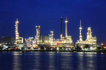 Oil refinery at twilight,Chao Phraya river, bangkok,Thailand