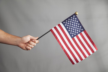 Hand Holds Big Flag