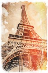 Eiffel tower postcard, Paris