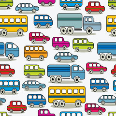 Cartoon retro cars seamless background.