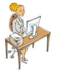 Young business woman working on computer.