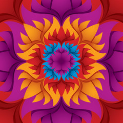 Colorful flower kaleidoscope background.
