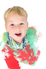 Kleiner Junge im kaputten Bild