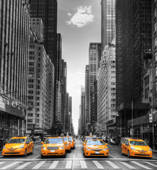 Türaufkleber New York TAXI Avenue avec des taxis à New York.