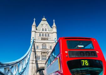 Tower Bridge and double-decker bus