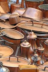 pots pans and ancient copper coffee pots