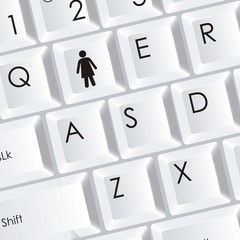 keyboard with a woman icon