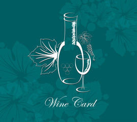 wine card background alcohol drink glass and bottle