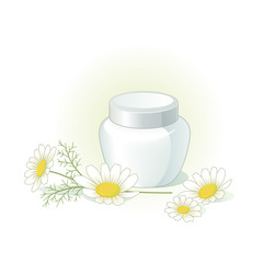 Cream jar and chamomile flowers