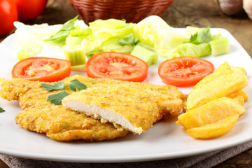 Chicken cutlet with salad