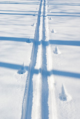Fototapete - Trace of skis on snow