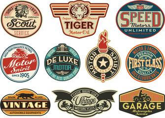 Motor company vintage abels