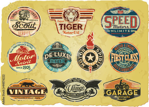 Motor company vintage grunge labels stock image and for Private label motor oil manufacturer
