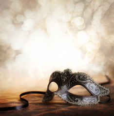 Fototapete - carnival mask with glittering background
