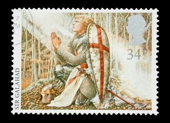 Mail stamp printed in the UK featuring Sir Galahad, circa 1985