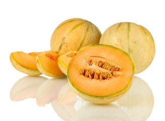 cut melon isolated on white