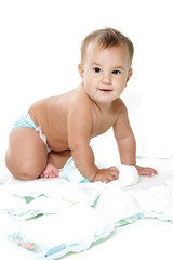 cute happy child baby with diapers isolated over white