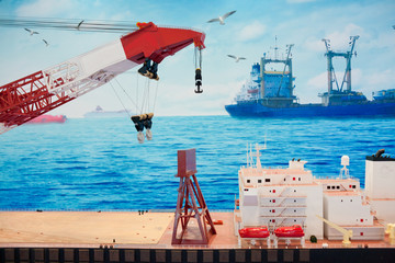 A ship model of oil at sea mining