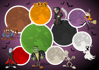 halloween template with cartoon monster characters