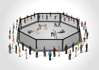 Street fight, conflict between business people on octagon ring