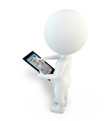 3d small people working on digital tablet