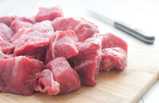 Raw meat diced for stew