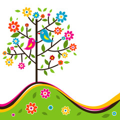 Decorative floral tree and bird, vector