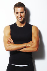 Handsome personal trainer
