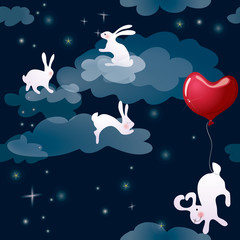 Rabbits in night sky / Fairy background