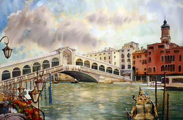A view of the canal with Rialto bridge, Venice
