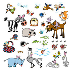 Poster de jardin Forets enfants vector set of childish wild animals