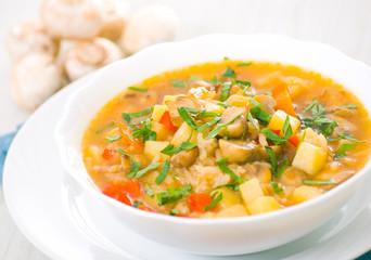 mushroom soup with potato and rice