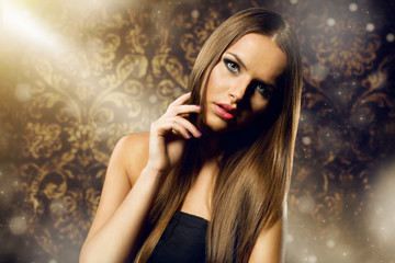 beautiful woman portrait with long healthy hair