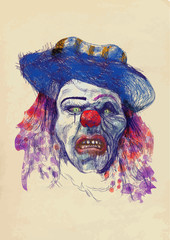 scary clown (drawing)