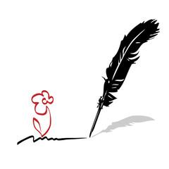 Vector feather. Writing pen
